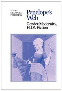 "image of book cover for ""Penelope's Web"" showing a blue-toned image of Giovanni Boccaccio illustration of a woman weaving"