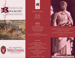 Poster for Boccaccio conference depicting a renaissance sculpture and painting with keynote speaker and sponsor listings