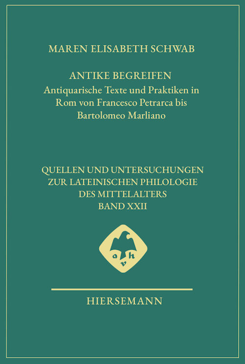 """image of cover of book """"antike begreifen"""" in turquoise with gold lettering."""