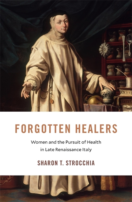 "cover of book ""Forgotten Healers"" showing a nun with her arm outstretched toward the viewer."