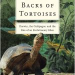 "cover of book ""on the backs of tortoises showing an detailed painting of a tortoise stretching its neck in a lush environment"