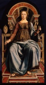 """painting depicting """"prudence"""" as a seated woman holding a snake in her left hand and a painting of a woman in her right hand"""