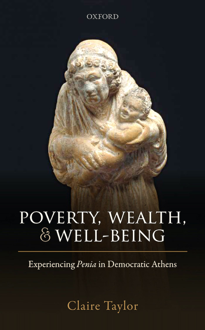 "Cover of book ""Poverty, Wealth, & Well Being"" with marble statue on a black background"