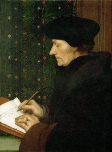 Portrait of Erasmus writing commentary on Saint Mark's Gospel.