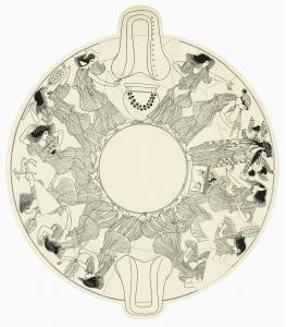 Attic Red-Figure kylix by Hieron depicting ten maenads dancing, c. 490-80 BCE. Berlin, Antikenmuseem, F2290. (Harrison 1895: XX, Plate XXI)