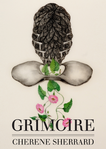 """Image of cover of book """"Grimoire"""" featuring the back of a black woman's head with elaborately braided hair above a clavicle bone with flowering vines growing through it."""