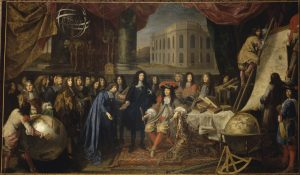 This is a painted image of Colbert Presenting the Members of the Royal Academy of Sciences to Louis XIV in 1667