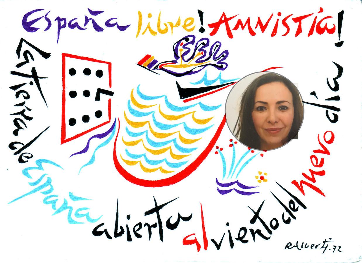 """Color photo with abstract elements and dispersed words that read """"España libre! Amnistía! La tierra de España abierta al viento del nuevo día"""" with an inset round portrait photo of a smiling woman with long brown hair."""