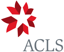 red, grey, and white logo for ACLS with initials in grey and an abstracted flower or quilt pattern in red.