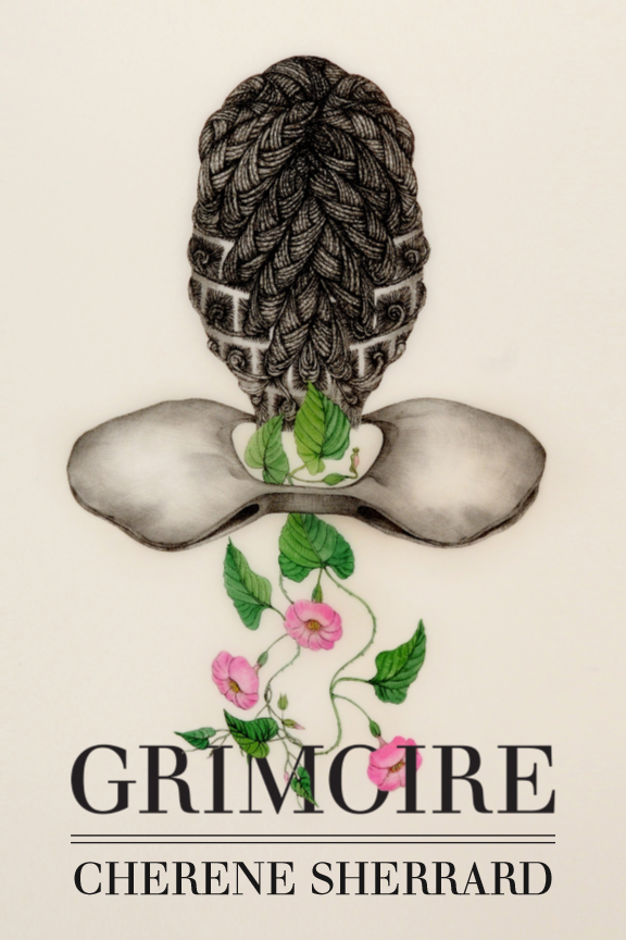 Book Image of Grimoire. These is a with pink flowers growing up towards the back of a person's head.