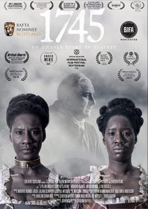 This is a DVD cover in black and white that pictures the face and shoulders of two women facing out to viewer directly and the image of a man dressed in in late 18th century clothing in the background.