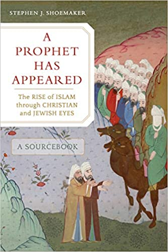"The cover of the book ""A Prophet Has Appeared"" includes a colorful illustration of two men riding camels in front of a group of men on the right side of the image. On the left side there are two different men looking and pointing towards the right bottom corner of the image to something out of sight."