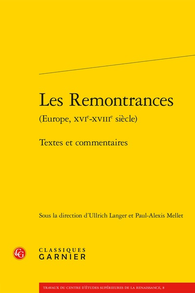"""Image Description: A yellow cover of the book with the title """"Les Remontrances: Textes et commentaires"""" written in black."""
