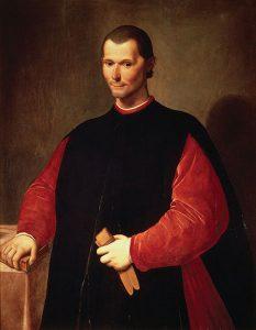 Posthumous painted portrait of Niccolo Machiavelli.
